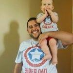 wearing Super Dad and Sidekick t-shirts